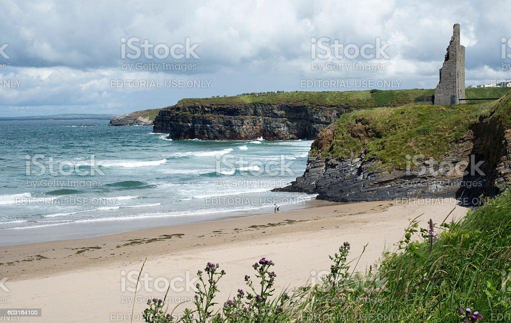 scenic view of ballybunion beach stock photo