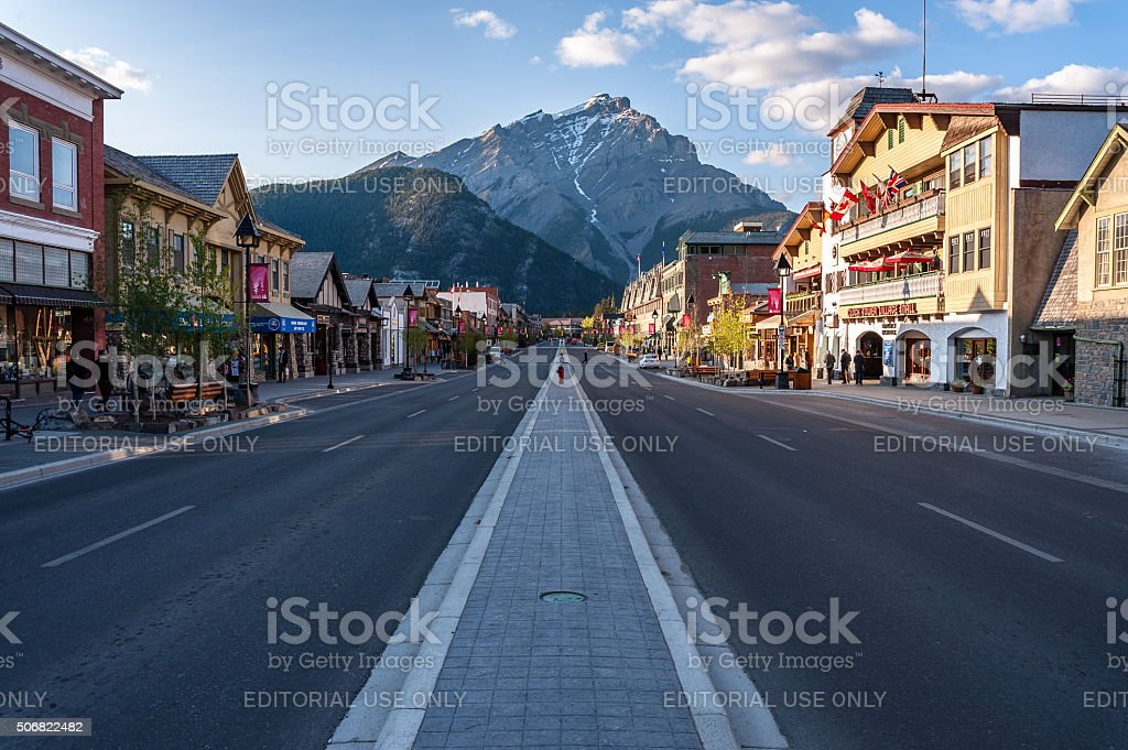 scenic view of Banff townsite stock photo