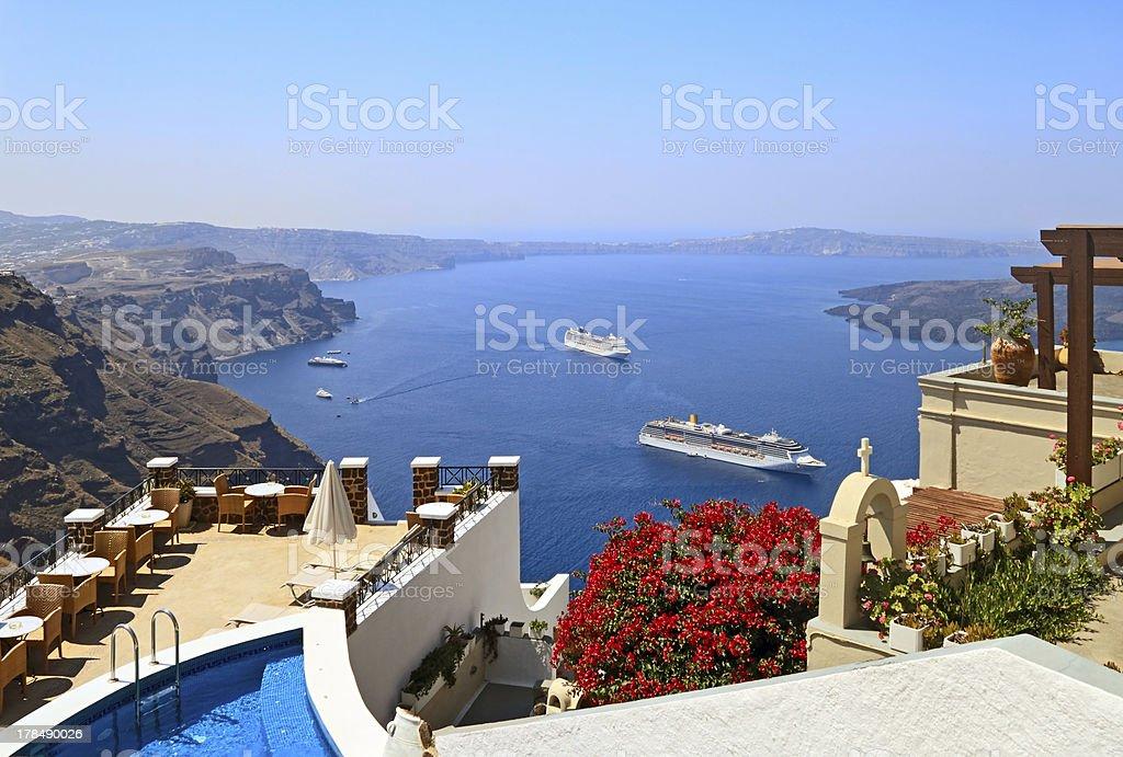 Scenic view of bay at Santorina Caldera stock photo