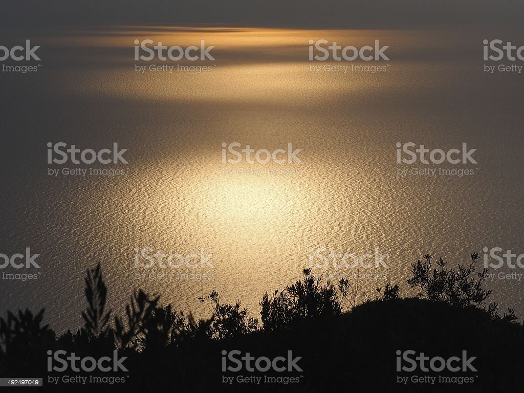 Scenic view of beautiful sunset above the sea royalty-free stock photo