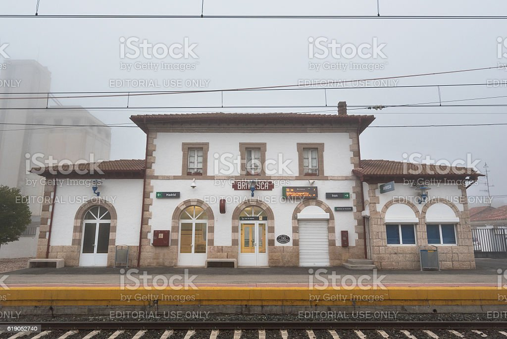 Scenic view of Briviesca, rural Renfe train station, Burgos, Spain. stock photo