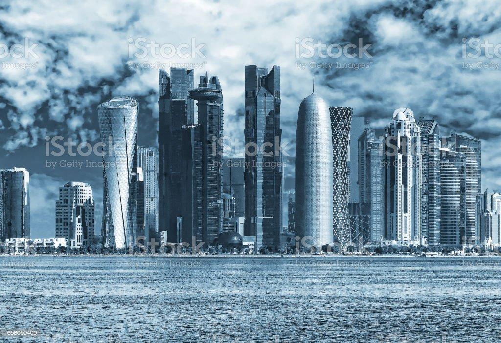 Scenic view of business center Doha, Qatar stock photo