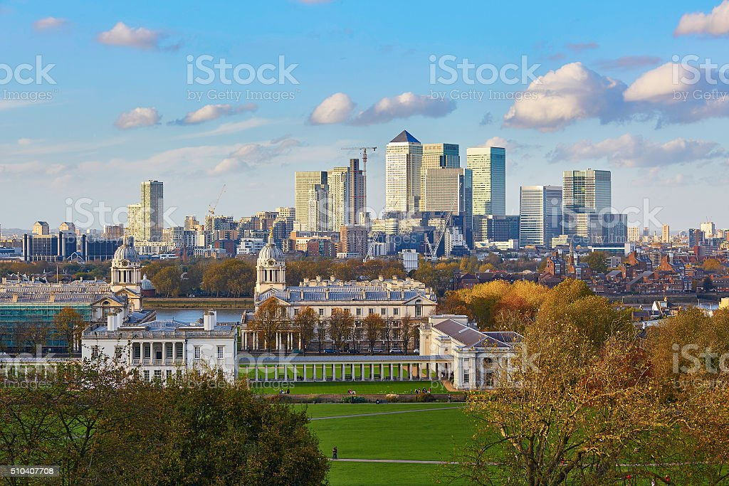 Scenic view of Canary Wharf stock photo