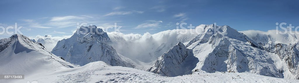 Scenic view of Caucasus Mountains stock photo