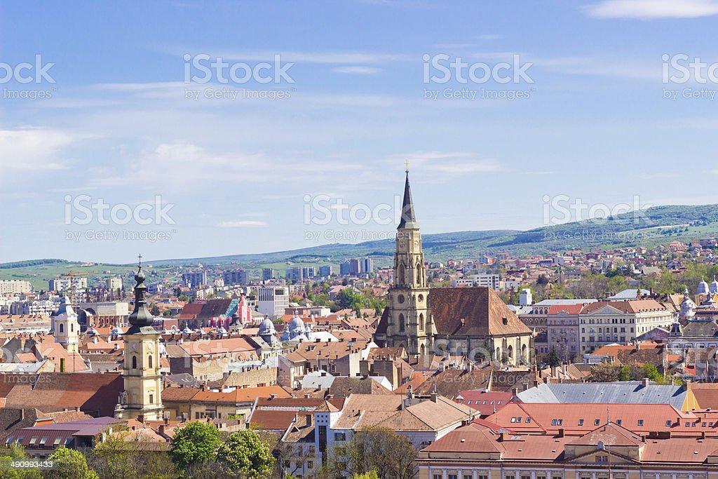 Scenic view of Cluj-Napoca under blue sky, Romania stock photo