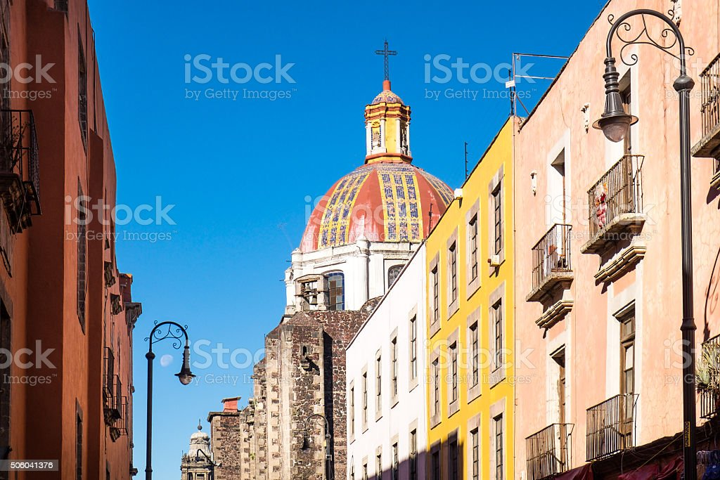 Scenic view of colorful houses and church in Mexico city stock photo