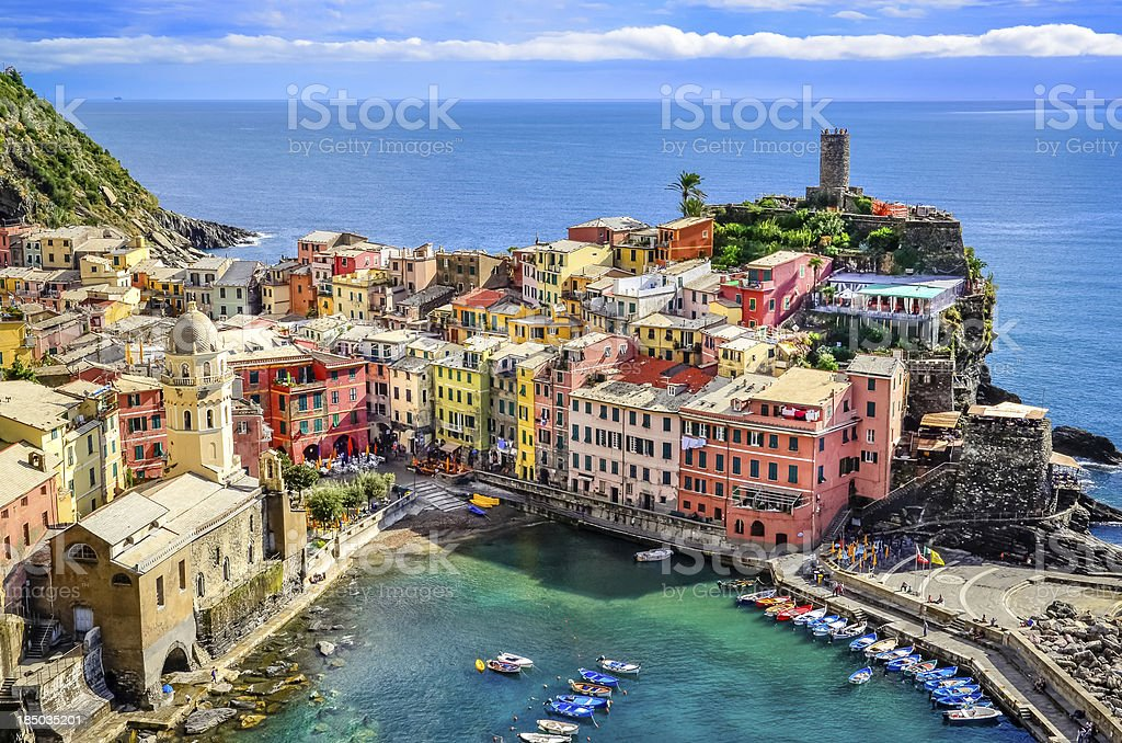 Scenic view of colorful village Vernazza, Cinque Terre stock photo