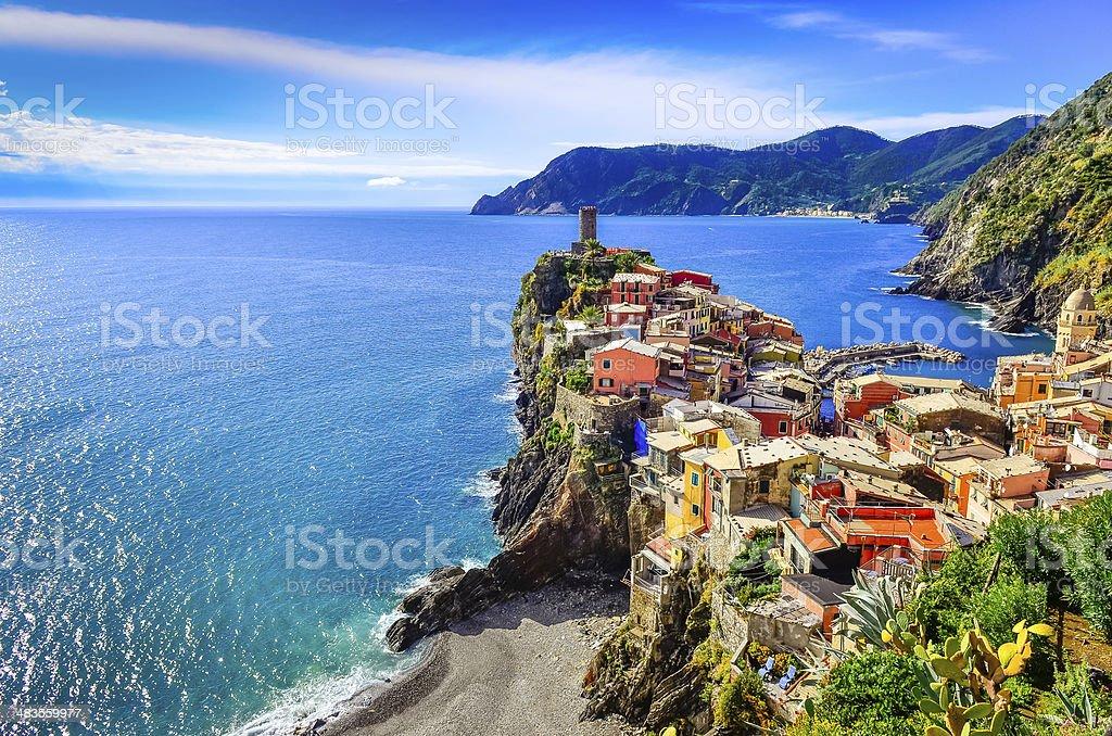 Scenic view of colorful village Vernazza in Cinque Terre stock photo