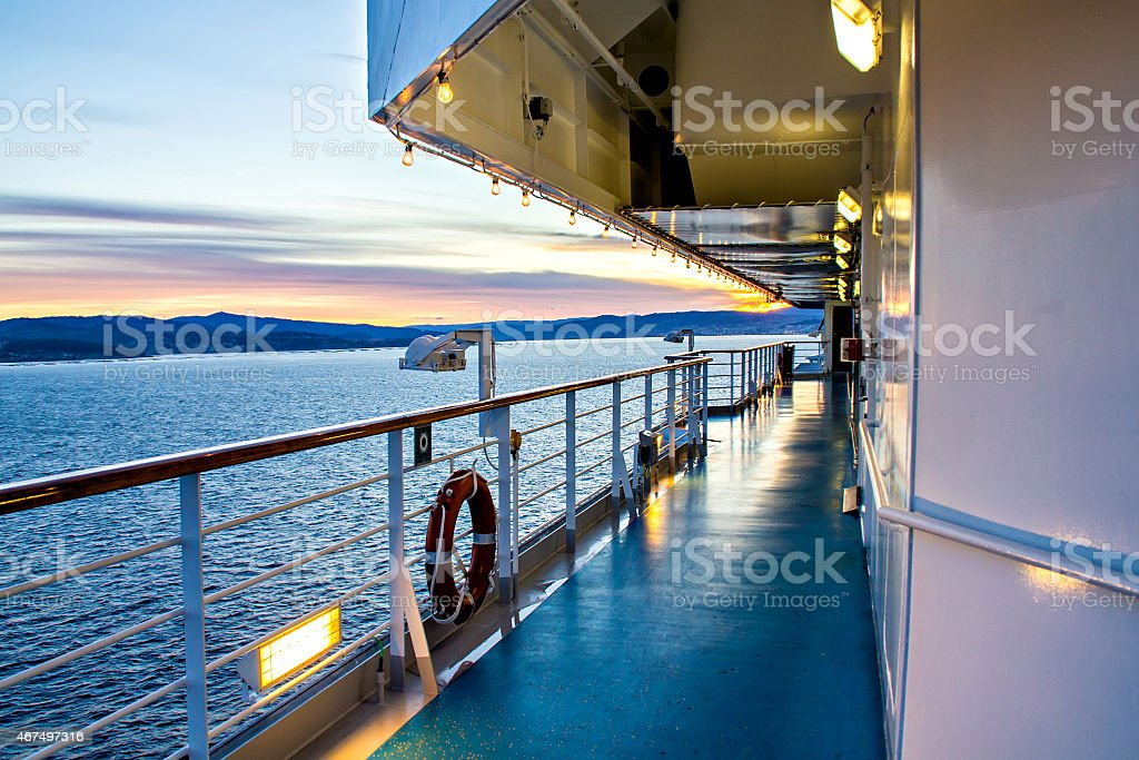 Scenic view of cruise liner deck and ocean stock photo
