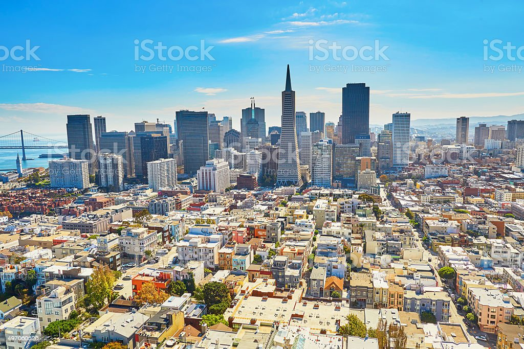 Scenic view of downtown in San Francisco stock photo