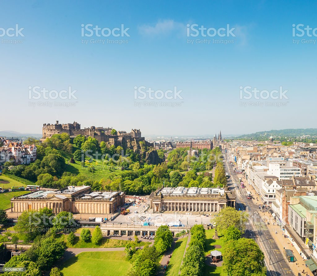 Scenic view of Edinburgh, Scotland stock photo