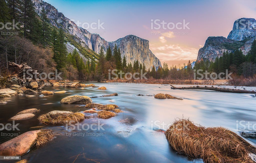 scenic view of El Capital and Cathedral cliff with river. stock photo