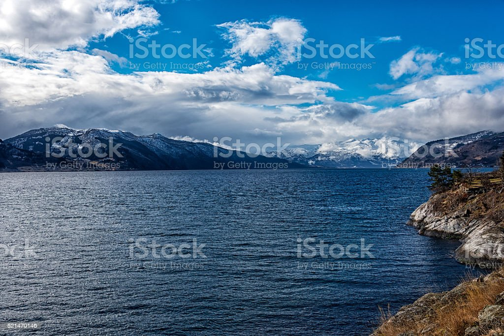 scenic view of fjord stock photo