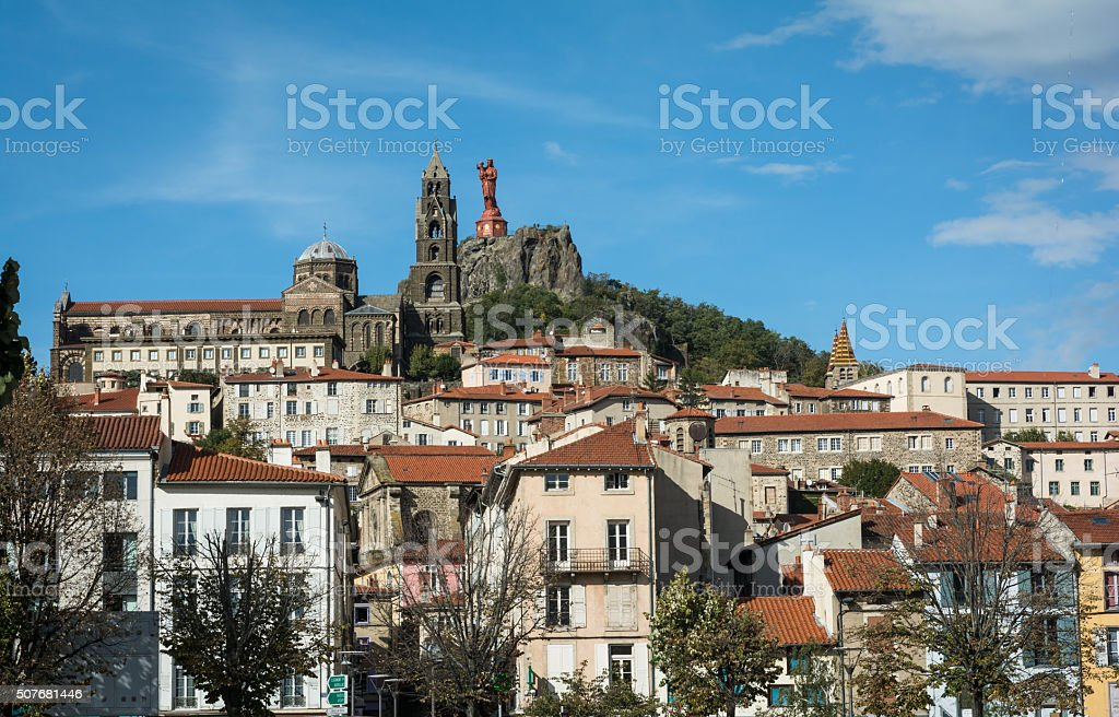 Scenic view of French town Le Puy-en-Velay stock photo