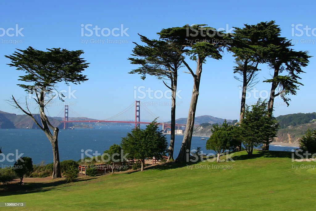 Scenic view of Golden Gate Bridge from afar stock photo