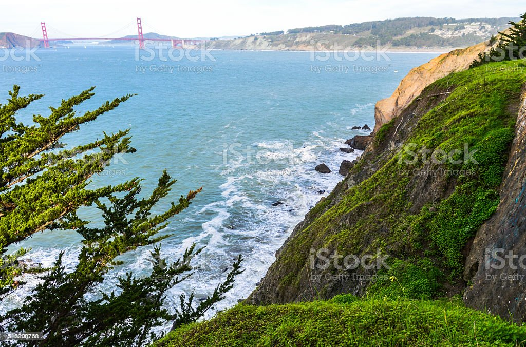 Scenic view of Golden Gate Bridge from Lands End Trail stock photo