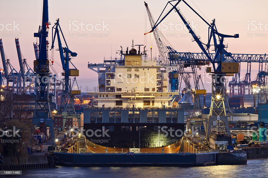 Scenic view of Hamburg Harbour shipyard in the evening stock photo