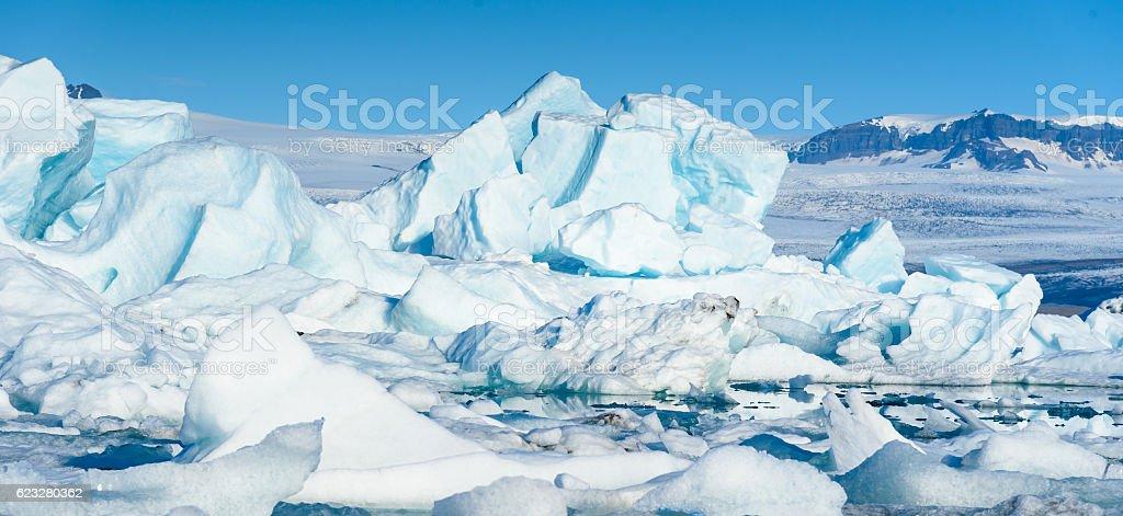 Scenic view of icebergs in glacier lagoon, Iceland stock photo