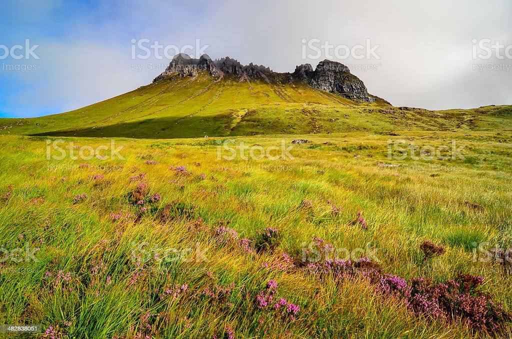 Scenic view of Inverpolly mountain peak Stack Pollaidh in Scotla stock photo