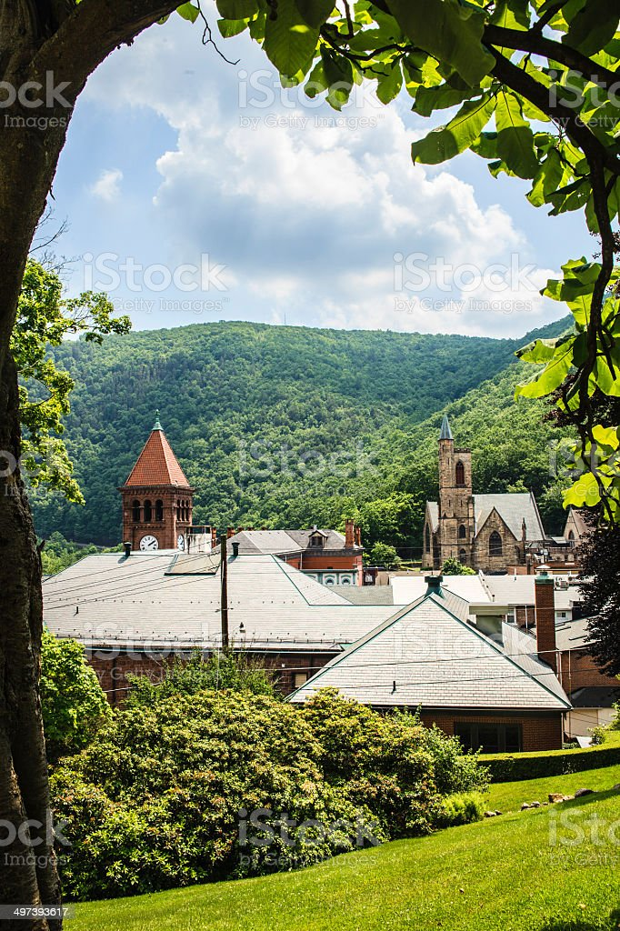 Scenic view of Jim Thorp (Mauch Chunk) stock photo