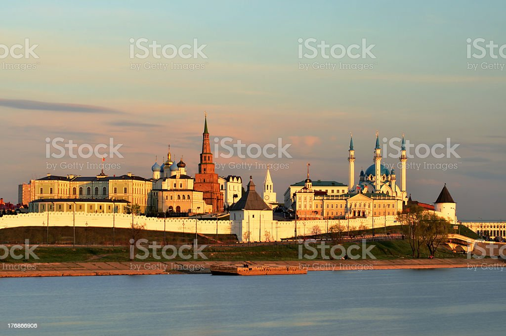 Scenic view of Kazan Kremlin at sunset stock photo