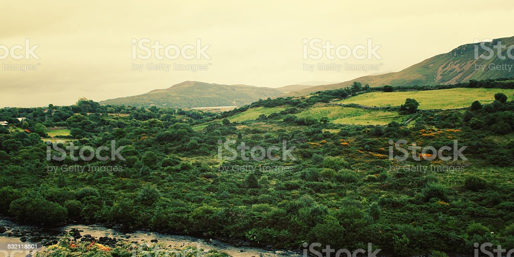 Scenic view of Kerry Mountains and surrounding areas stock photo