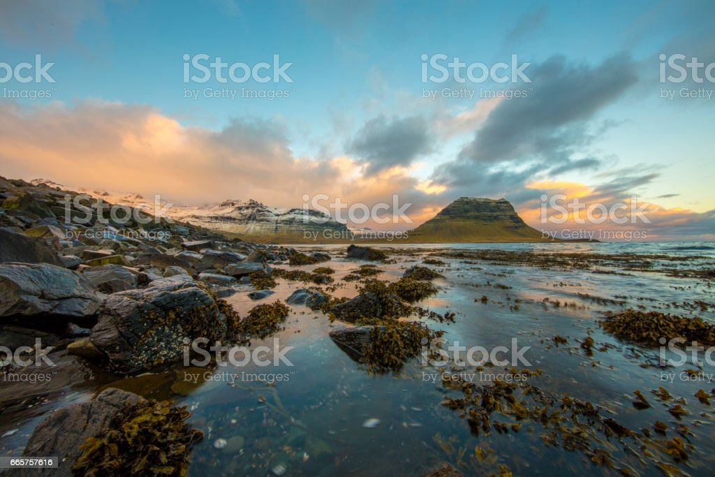 Scenic view of lake against cloudy sky in Iceland stock photo