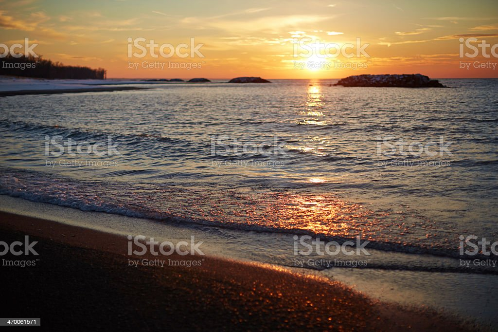 A scenic view of Lake Erie during a sunset stock photo