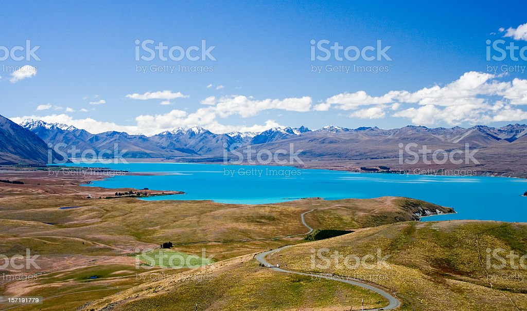 Scenic view of Lake Tekapo, New Zealand stock photo