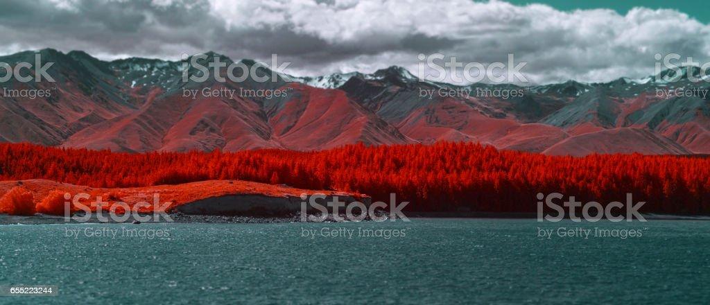 Scenic view of Lake Tekapo, New Zealand stock photo