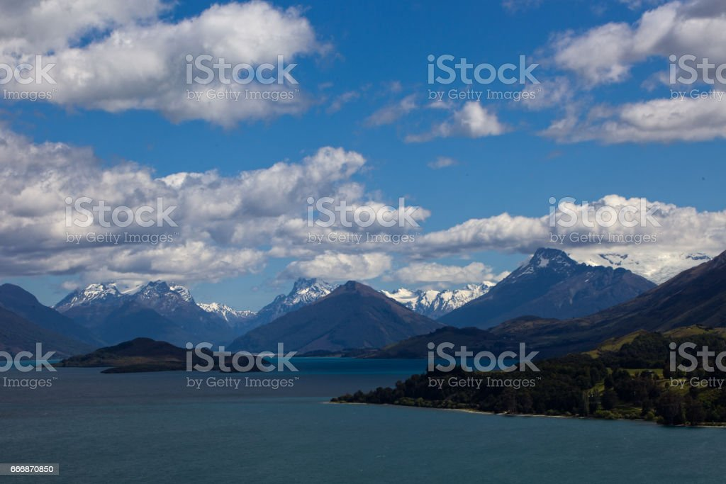Scenic view of Lake Wakatipu, New Zealand stock photo