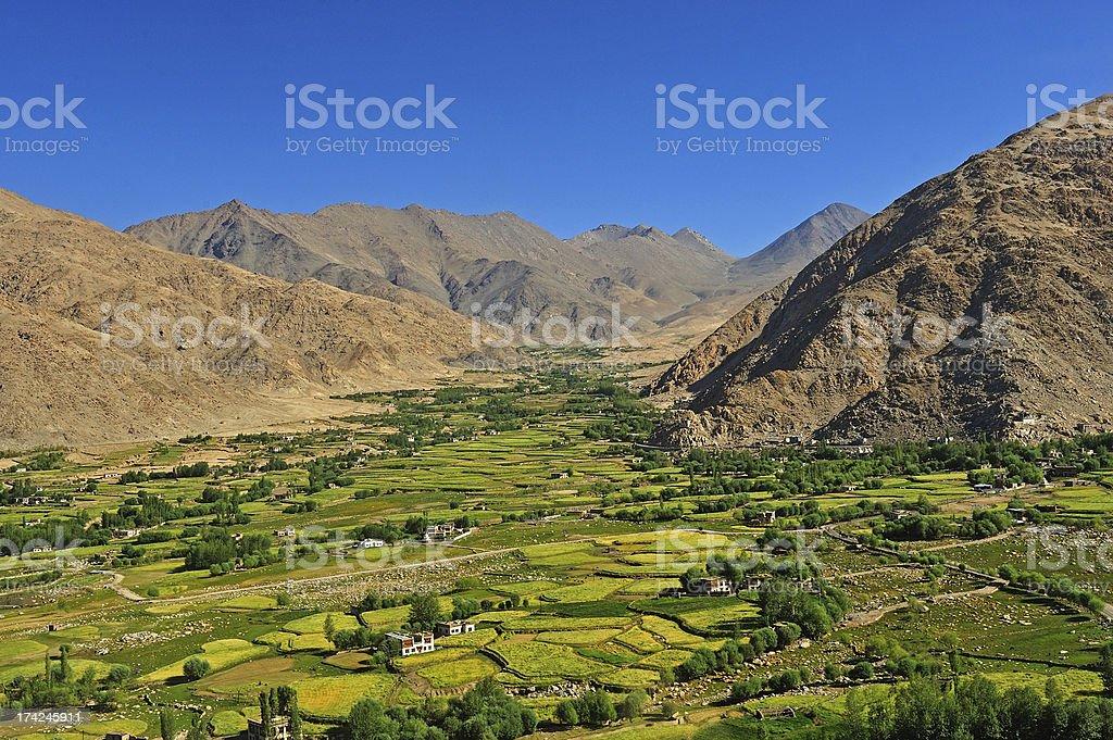 scenic view of Leh valley, Ladakh range, royalty-free stock photo