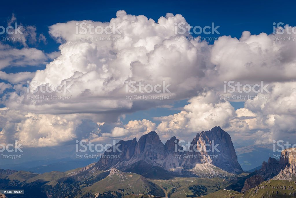Scenic view of majestic rock formation in Italian Dolomites. stock photo