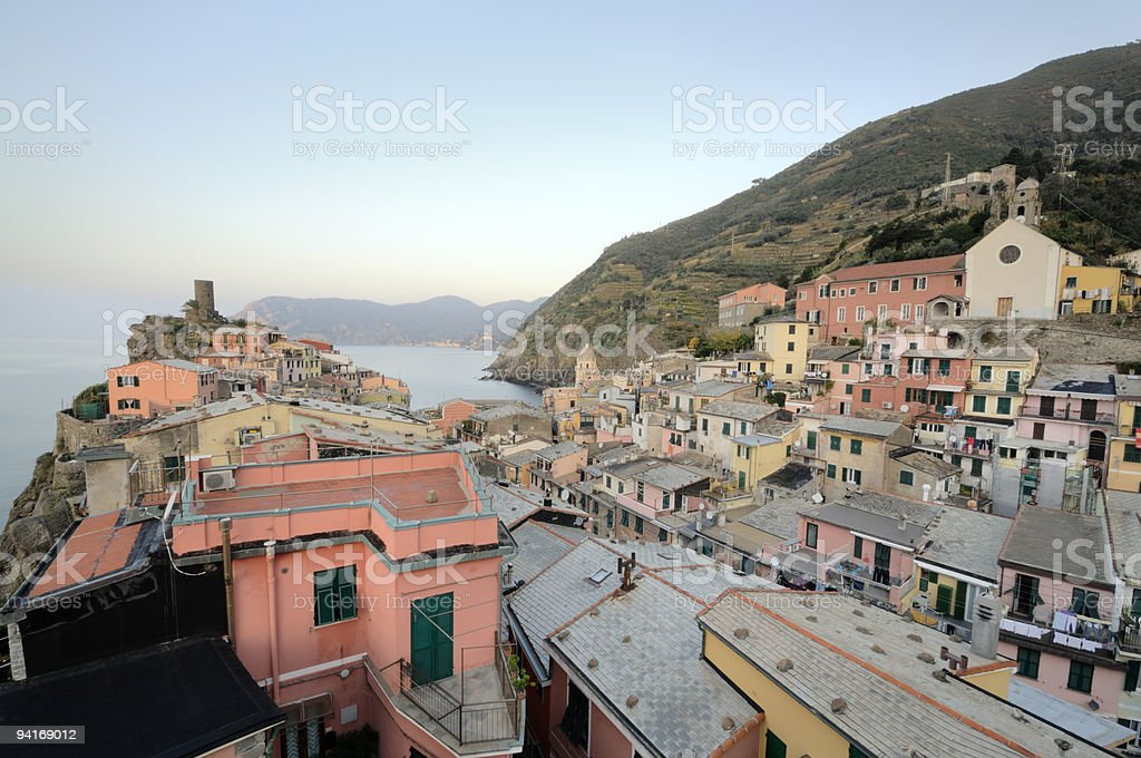 Scenic View of Mediterranean Village in Cinque Terre Italy royalty-free stock photo