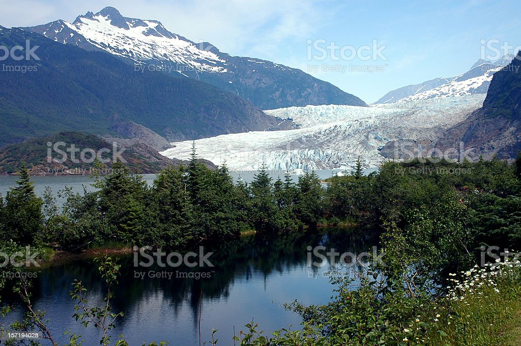 A scenic view of Mendenhall Glacier royalty-free stock photo