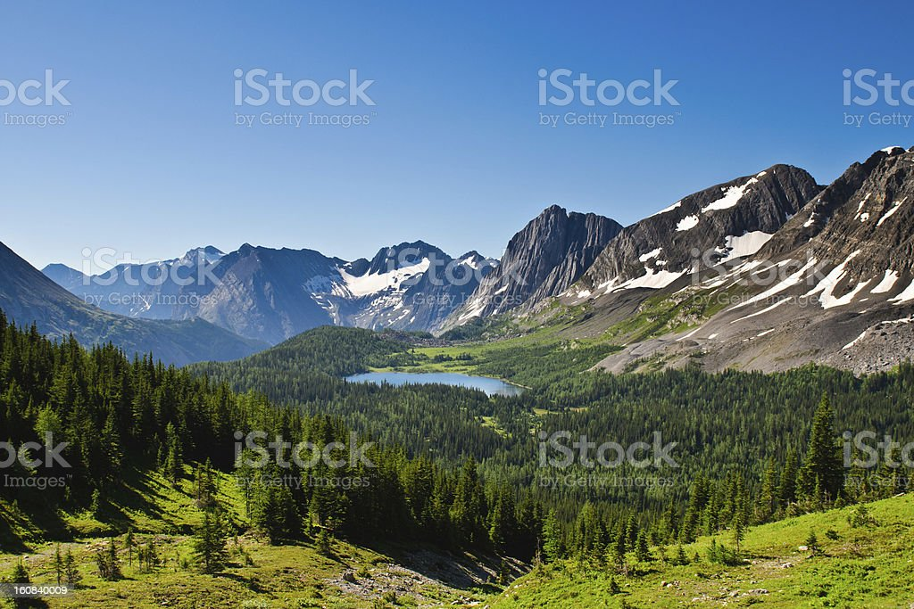 Scenic view of mountains and forests of Kananaskis stock photo