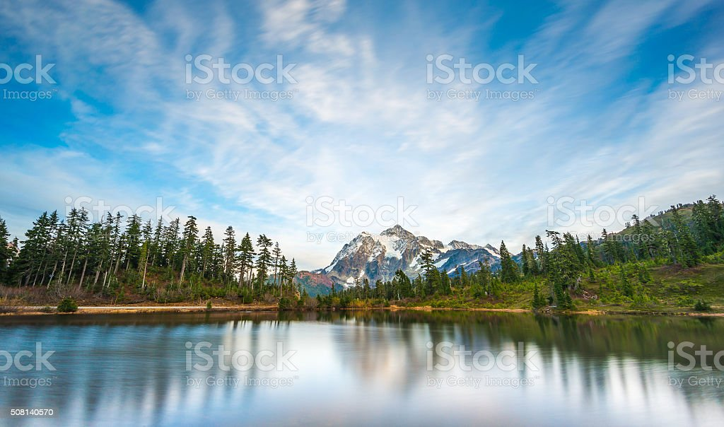 scenic view of mt Shuksan with reflection in the water stock photo