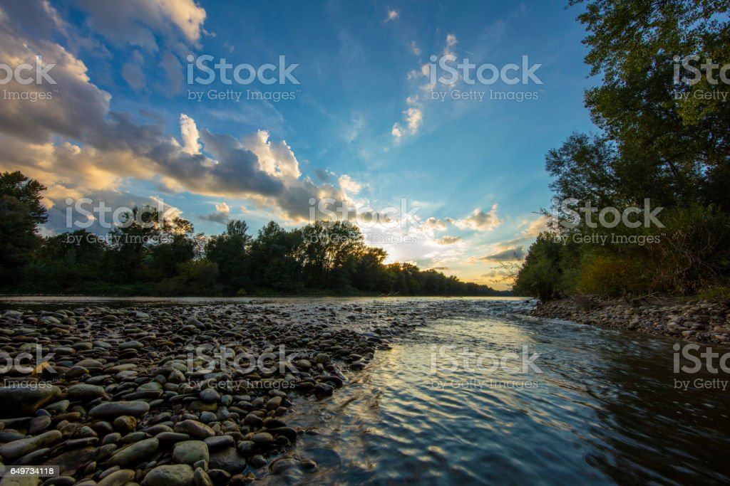 Scenic view of Mura river amidst forest stock photo