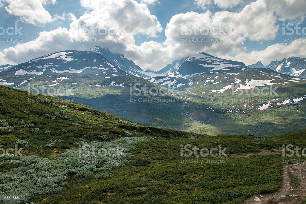 Scenic view of Norwegian mountains stock photo