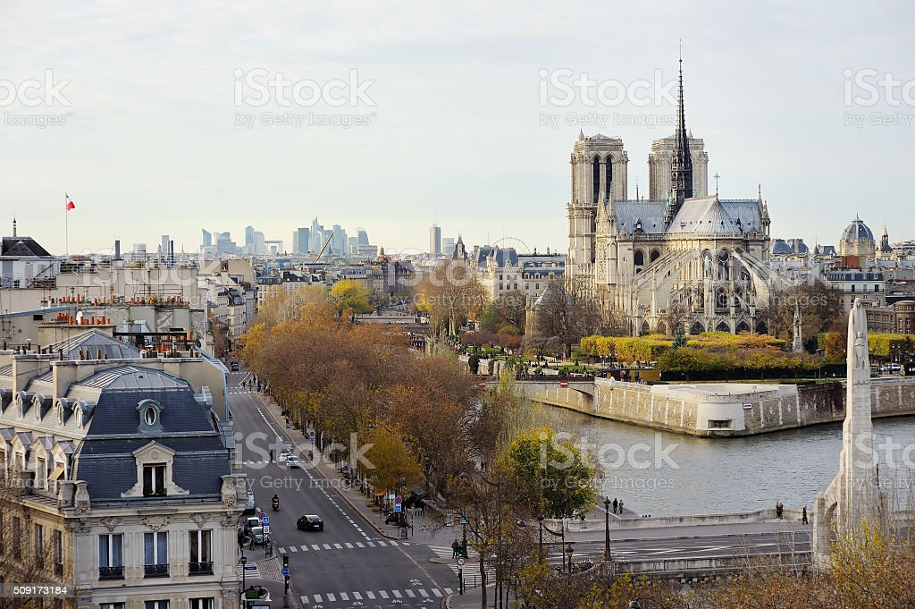 Scenic view of Notre-Dame de Paris with Saint-Louis and Cite stock photo