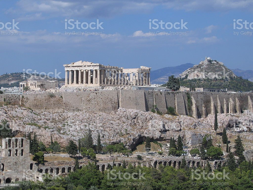 Scenic view of old buildings in Acropolis stock photo