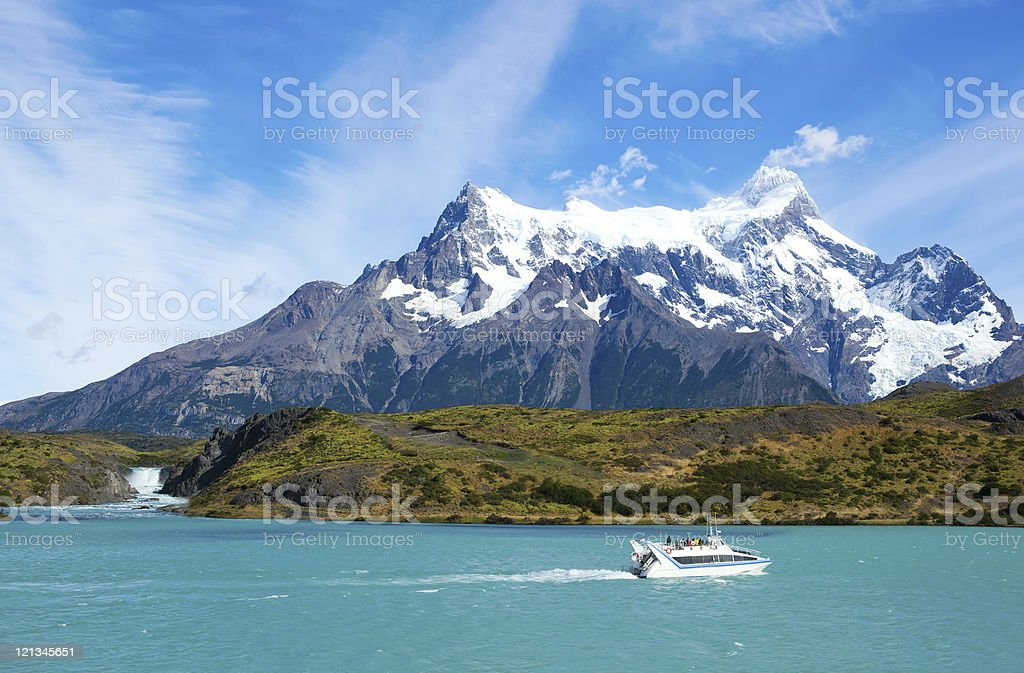 Scenic view of Pehoe lake and Salto Grande waterfall stock photo