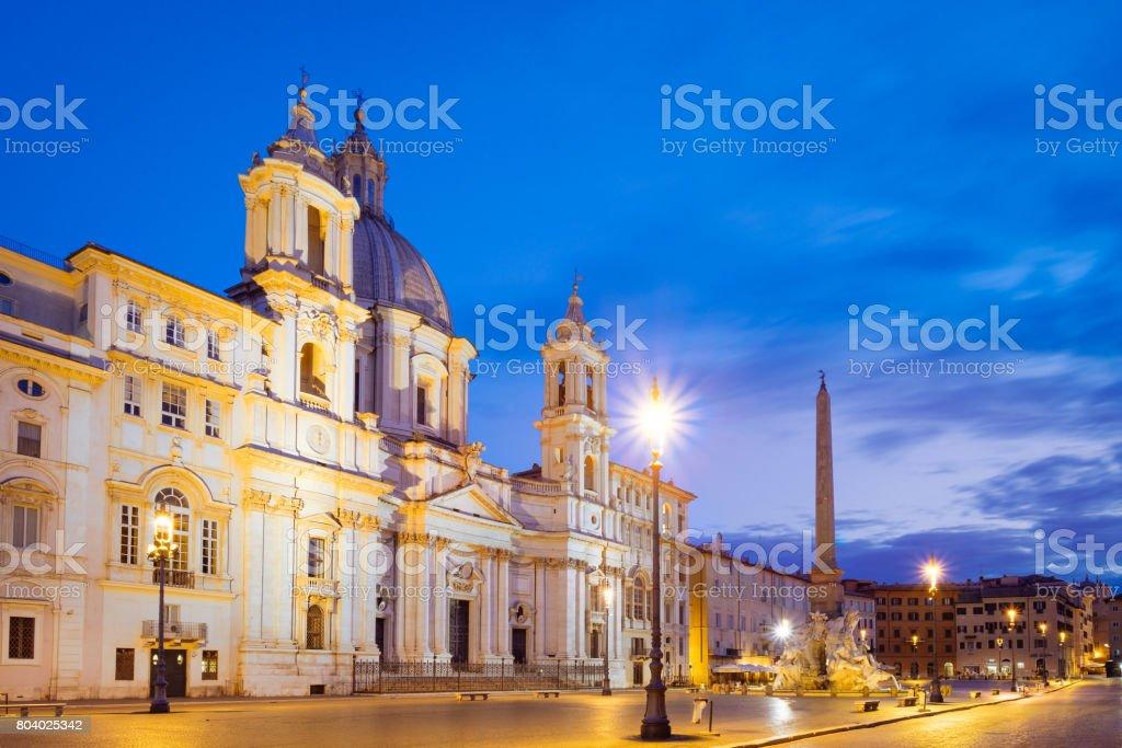 Scenic view of Piazza Navona in Rome before sunrise stock photo