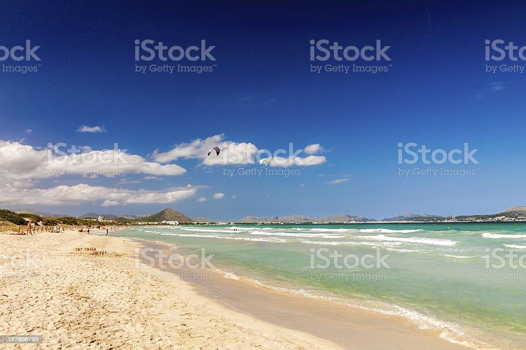 A scenic view of Playa de Muro Beach stock photo
