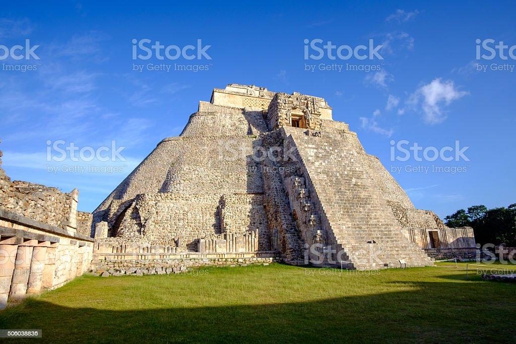 Scenic view of prehistoric Mayan pyramid in Uxmal stock photo
