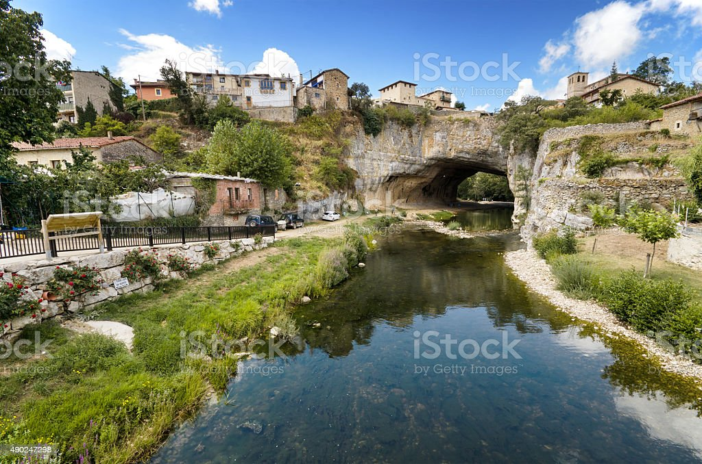 Scenic view of Puentedey, famous village in Burgos, Spain. stock photo