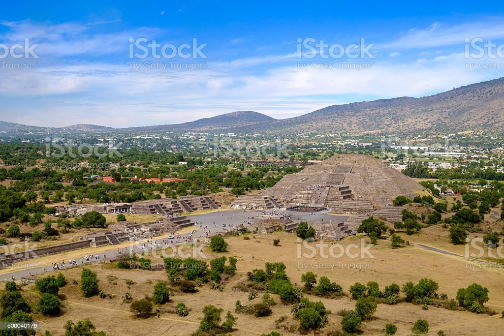Scenic view of Pyramid of the Moon in Teotihuacan, Mexico stock photo