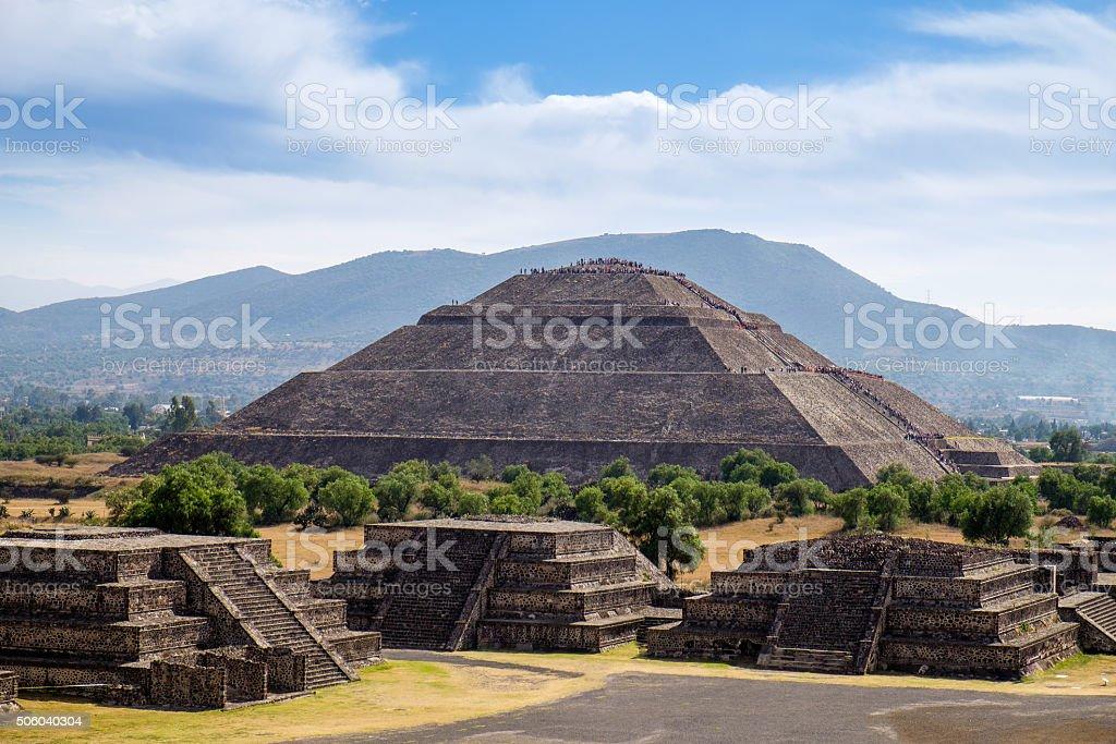 Scenic view of Pyramid, Teotihuacan ancient Mayan civilization stock photo