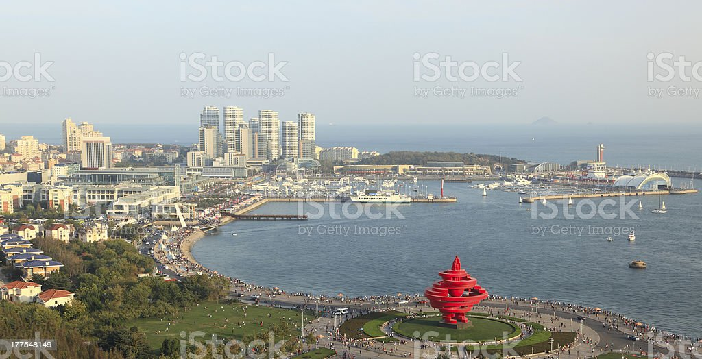 A scenic view of QingDao with water stock photo