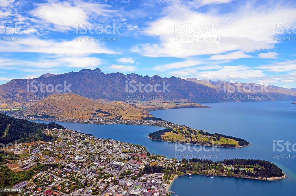 Scenic view of Queenstown, New Zealand stock photo